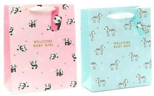 GIFT BAG LARGE Welcome Baby Boy Blue + Pink Foiled NEW Arrival Shower 330x267mm