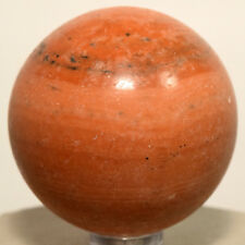 49mm Orange Jade Sphere Natural Banded Jadeite Mineral Striped Stone Ball +Stand