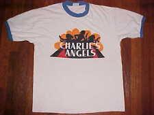Acton Charlie's Angels TV Series White Blue Trims Vintage '70s '80s T-Shirt L