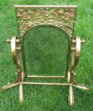 Antique Ornate Heavy Brass Beveled Glass Retail Store Shoe Ankle Swivel Mirror