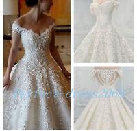 2017 Hot Luxury Lace Bateau Wedding Dress A Line Ball Bridal Gown Custom Size