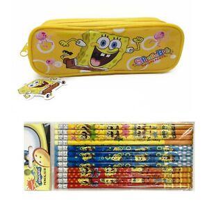 SpongeBob Yellow Pencil pouch bundled with 12x Pencils School Supply
