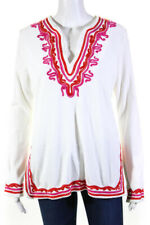 Tory Burch  Womens Terry Tunic Top White Red Size Medium