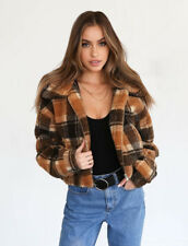Womens Teddy Bear Check Plaid Coat Ladies Faux Fur Borg Zip Short Bomber Jacket
