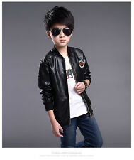 Kids Faux Leather Bike Jacket Boy/Girl Leather Jacket Size 3-16 Years old Deluxe