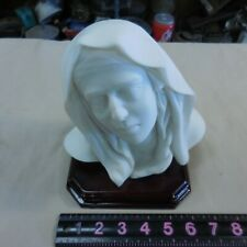 "MARBLE BUST OF VIRGIN MARY UNSIGNED WOOD BASE 7"" X 7"" X 5"""