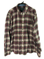 Woolrich Cotton Flannel Button Up Shirt Mens Large Plaid Long Sleeve Heavy Euc