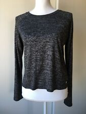 Hollister shirt size Medium top womens Black Gray Heather Long Sleeve crop EUC