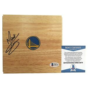 Mark Curry Golden State Warriors Signed Basketball Floor Board Beckett BAS Cert