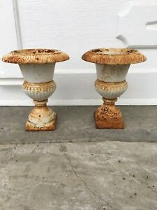 Pair of Smaller Antique Cast Iron Planters