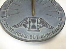 Vtg Virginia Metalcrafters Sundial Bird Winged Hourglass Metal Garden Art Decor