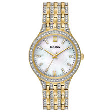 Bulova Women's Swarovski Quartz Crystal Accents Gold-Tone 32mm Watch 98L234
