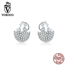 Authentic 925 Sterling Silver Stud Earrings Baby dinosaur style For Women VOROCO