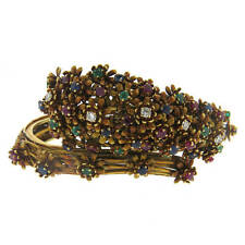 Zolotas 18k Gold Diamond Emerald Sapphire Ruby Flower Bangle Bracelet