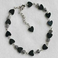 Black Magnetic Hematite Love Hearts Jewellery Beaded Anklet Ankle Bracelet Gift