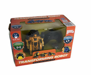 Blue Hat Transforming Robot Radio Controlled Car Yellow Battery Operated 2 Freq