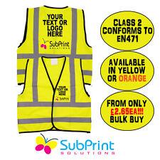 EN471 Workwear Personalised Printed Hi Vis Safety Vest - Any Logo,name or text