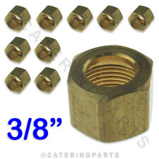 """PACK 10 x 3/8"""" CCT IMPERIAL BRASS NUT FOR GAS PILOT TUBE COPPER TUBING PIPES"""