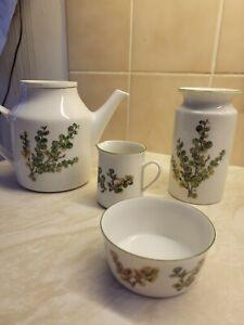 Porsgrund China Set - Teapot, Sugar Bowl, Milk Jug And Vase