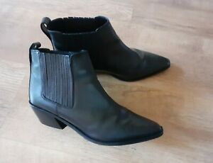 Asos Black Leather Cowboy/Western Style Pointed Toe Ankle Boot Size Uk 8 (Eu 41)