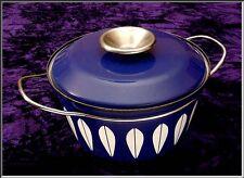 "Mid Century CATHRINEHOLM Norway Blue LOTUS Enamel Covered Casserole Pot  7 3/4"""