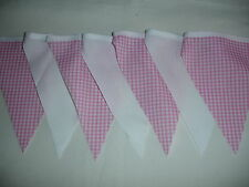 PINK AND WHITE FABRIC BUNTING ( NURSERY,BABY SHOWER,CHRISTENING )
