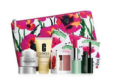 Clinique 7pc Gift Set Shadow Blush Moisturizer Lipstick Makeup Bag Mothers Day