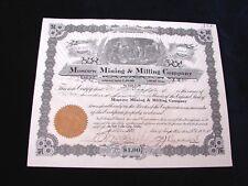 MOSCOW MINING & MILLING COMPANY  1924 TO 1925 STOCK CERTIFICATE UTAH SALT LAKE