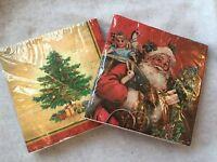 20 X Traditional Christmas Paper Napkins Red Father Tree Gisela Graham Vintage