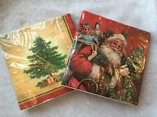 20 X Traditional Christmas Paper Napkins Red Father Tree Gisela Graham Vintage