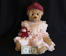 WONDERFUL Ooak ONE OF A KIND SIGNED JOANNE MITCHELL MOHAIR BEAR w/HAT AND DOLL
