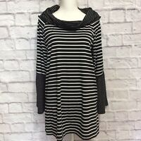 Suzanne Betro Tunic Top Womens Large Black White Striped Pullover Shawl Collar