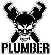 "Plumber Worker Crossbones Helmet Hard Hat Car Bumper Vinyl Sticker Decal 4""X5"""