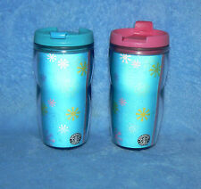 STARBUCKS COFFEE 8 OZ 2004 PAIR SET OF 2 LENTICULAR SNOW FLAKE TRAVEL TUMBLERS