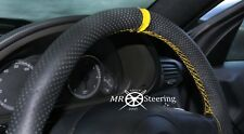 FITS RENAULT MASTER PERFORATED LEATHER STEERING WHEEL COVER + YELLOW STRAP 97-10