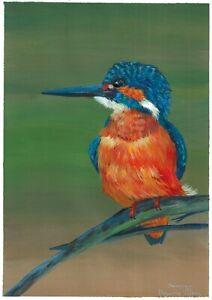 original painting A4 87DmO art Realism acrylic bird blue kingfisher on a branch