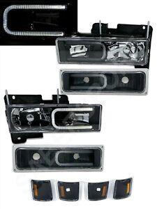 Black Headlights Combo Set w/ LED C-Bar for 1994-1999 Chevrolet C/K Full Size