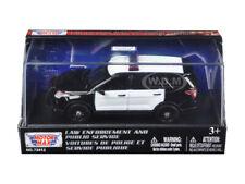 2015 FORD POLICE INTERCEPTOR UTILITY BLACK/WHITE 1/43 DIECAST CAR MOTORMAX 79478