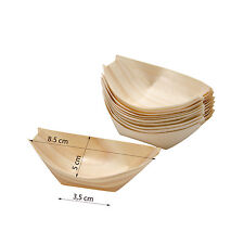 x 50  Wood BAMBOO BOATS  8 x 5 cm Wooden Food  Serving Canape Finger Small Size