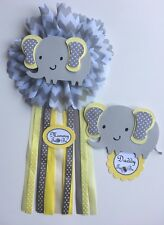 Baby shower corsage, elephant theme,Yellow  and gray elephant baby shower