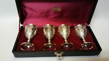 4 Antique Silverplate Cordial Sherry Wine Cups --- Cherubs --- IOB