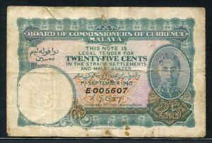 Malaya 1940, 25 Cents, P3, Fine