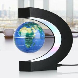 C Shape Magnetic Levitation Floating Earth Globe World Map LED Light Decor Gift