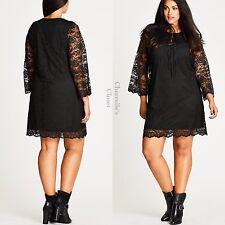 Nordstrom City Chic Woodstock Love Shift Dress Black & Lace Plus Size 22 24 XL