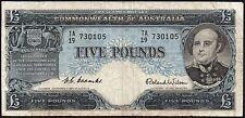 1954-59 AUSTRALIA £5 POUNDS BANKNOTE * TA/19 730105 * gF * P-31a *