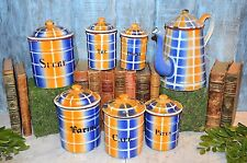 Vintage French Enamelware Plaid Canisters Enamel Set of 6 Plus Coffee Pot