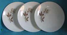 3 Bread & Butter plates VINTAGE McCOY ART POTTERY Brown Antique Rose near MINT