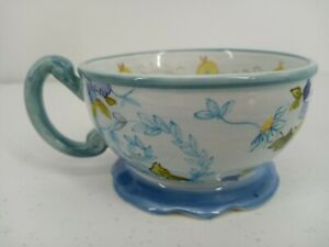Tracy Porter Hand Painted Footed Coffee Mug Tea Cup Blue Yellow Flowers 10oz