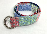 Vineyard Vines Patchwork Preppy Whale Party D-Ring Canvas Mens Belt Sz Medium