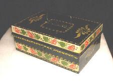 Vintage/Antique Hand Painted Black Tin Toleware Money Box 1900 - 1930
